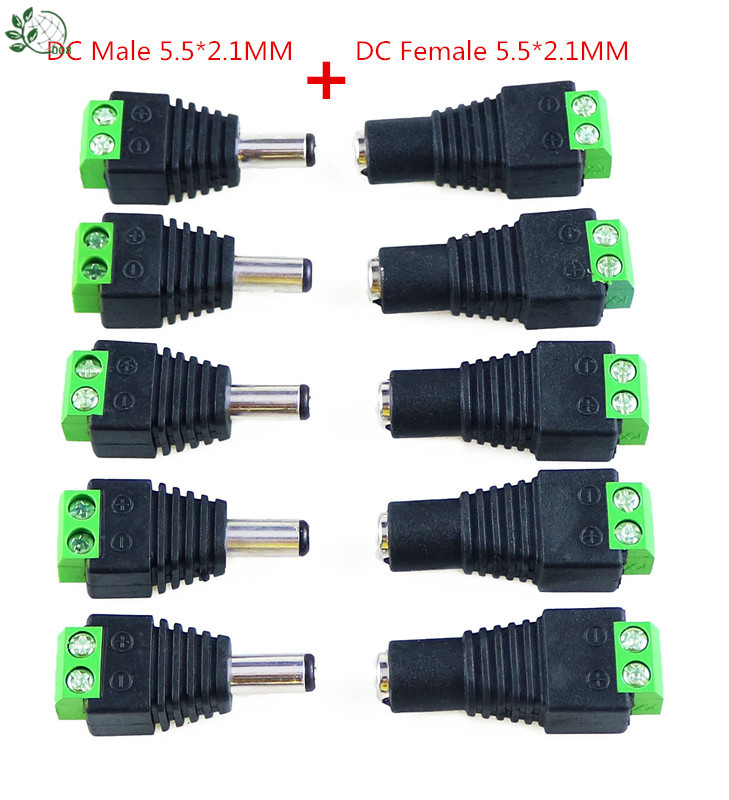 5 PAIRS 2.1MMX5.5MM MALE FEMALE DC 12V POWER PLUG SOCKET JACK CONNECTOR LAPTOP