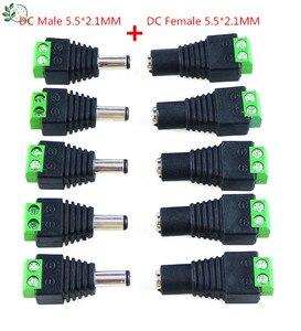 5 Set 10 pcs Cameras 2.1mm x 5.5mm Female Male DC Power Plug Adapter Female Plug Jack Adapter Connector Male Plug Socket green