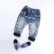 Factory direct promoting kids's clothes new paint level boys denims cool character pants