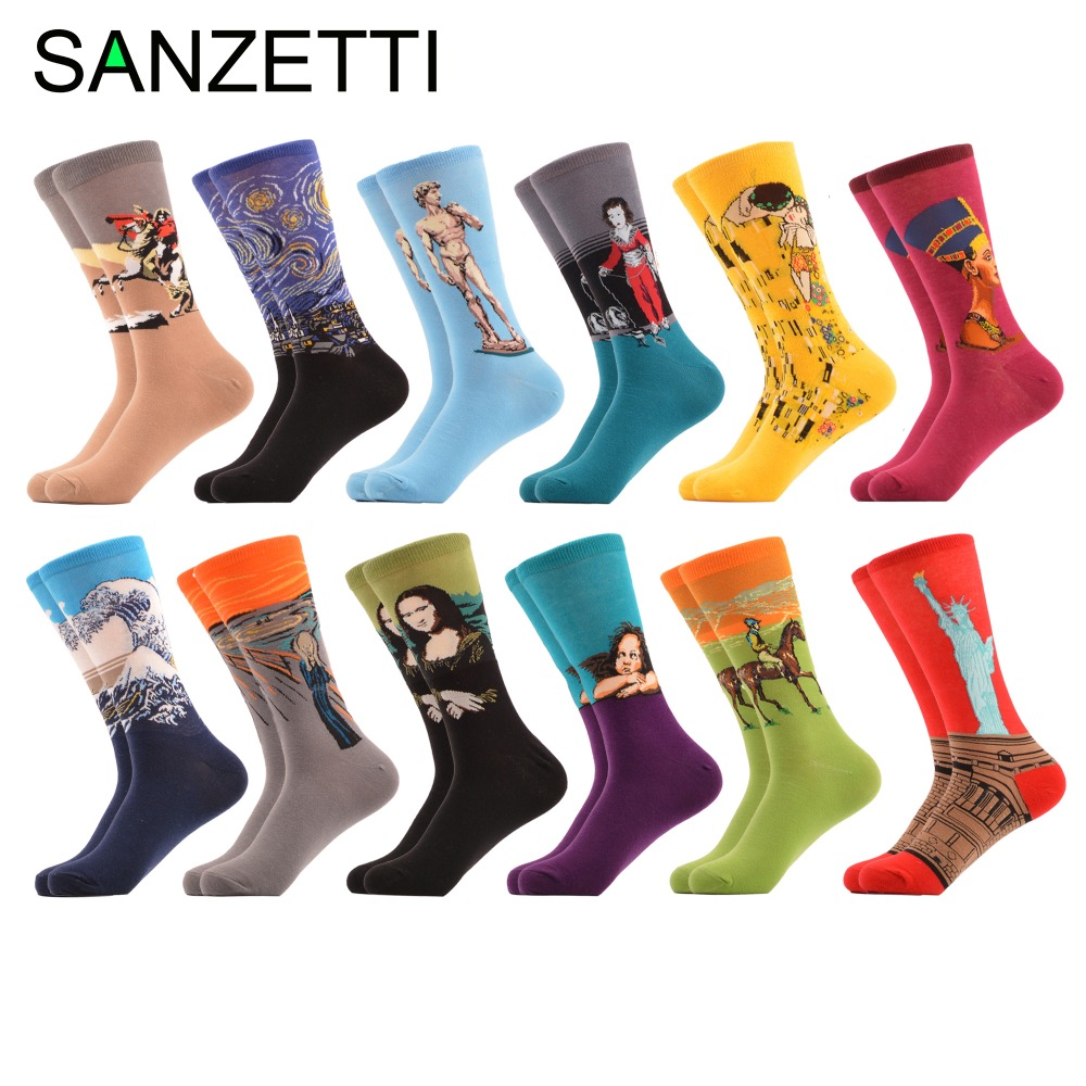 SANZETTI 12 pairs/lot Funny Pattern Combed Cotton Men Socks Famous Painting Famous People Novelty Socks Colorful Casual Socks