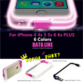 Brand Luxury Case TPU Crystal Clear Cover With Charge Cable Line USB Call Flash Light For iphone 4 4s 5 5s 6 6s Plus Phone Case