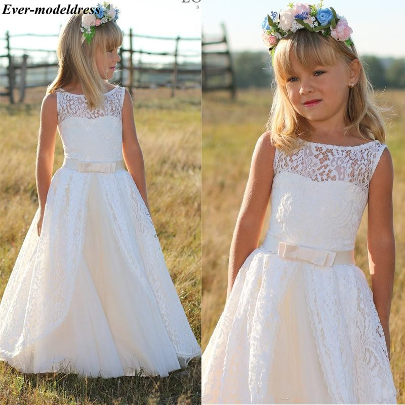 2019 Lace   Flower     Girls     Dresses   Long A-Line Floor Length Zipper Back Bow First Communion   Dresses   Birthday Party Gowns Cheap