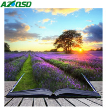 AZQSD Full Drill Diamond Painting Landscape Needlework Gift Mosaic Book Cross Stitch Rhinestones Pictures Handmade
