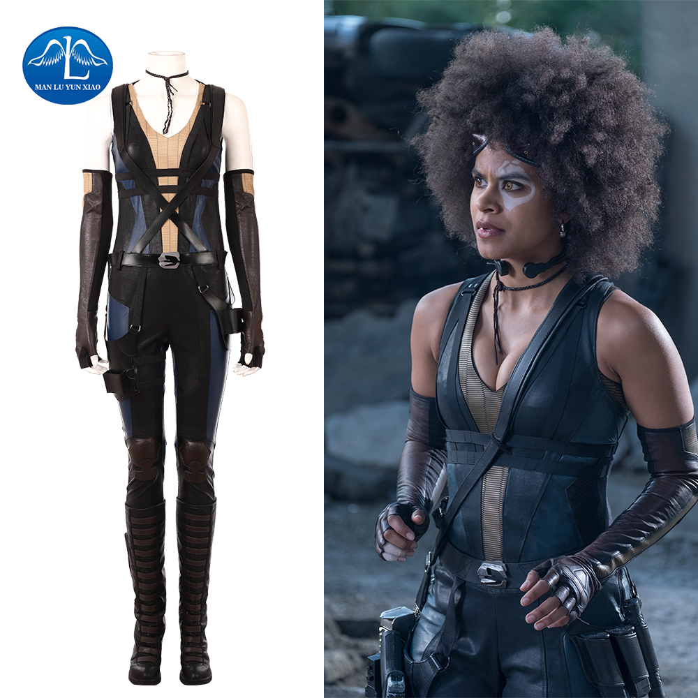 Manluyunxiao New 2018 Deadpool 2 Costume Domino Cosplay Costume For Women Halloween -4530