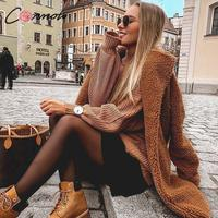 Conmoto Women Winter Suede Jacket 2019 Fashion High Street Caramel Long Coat Female Long Sleeve Faux Fur Coat Mujer Chic Jacket