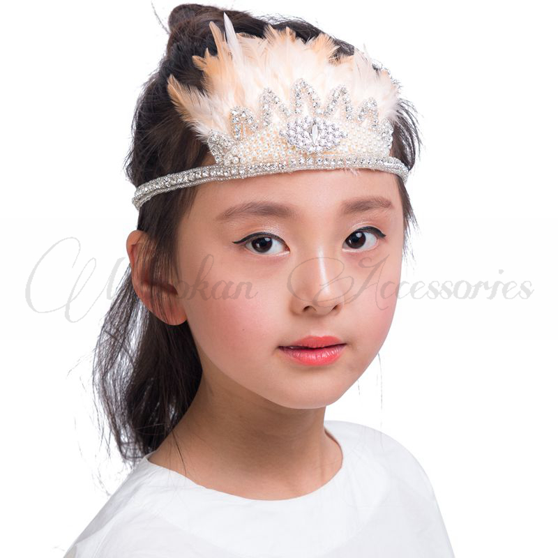 20colors Fashion Princess Flower Tiaras Headwear Ruffle Your Feathers Rhinestone Crown Headband for Kids Girls Hair Accessories