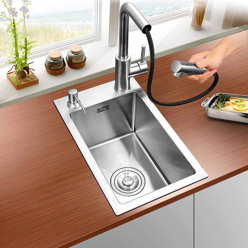 304 stainless steel hand small single groove kitchen sink small single mini bar basins basin of the balcony