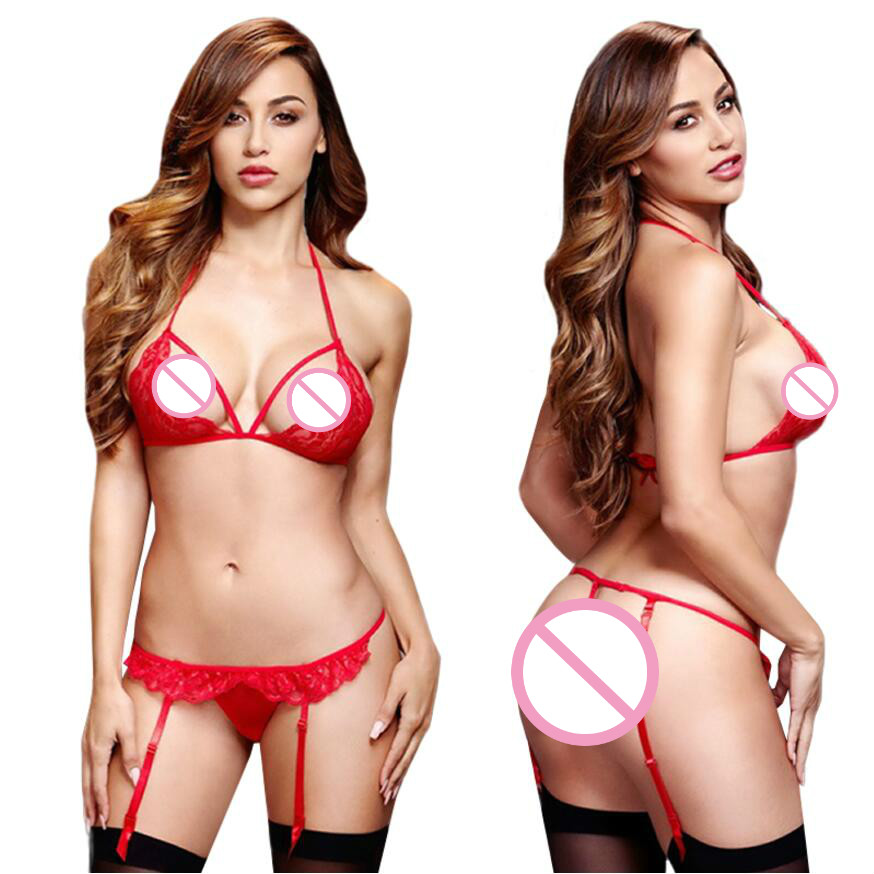 2018 sexy lingerie set red black Three point bikini breast hollow-out erotic lingerie crotchless night wear women sexy underwear