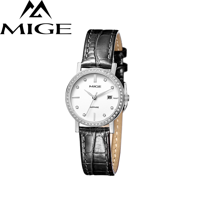 Mige 2017 Real New Hot Sale Ladies Watch White Brown Leather Female Clock Waterproof  Steel Case Ultrathin Quartz Women Watches mige 20017 new hot sale top brand lover watch simple white dial gold case man watches waterproof quartz mans wristwatches