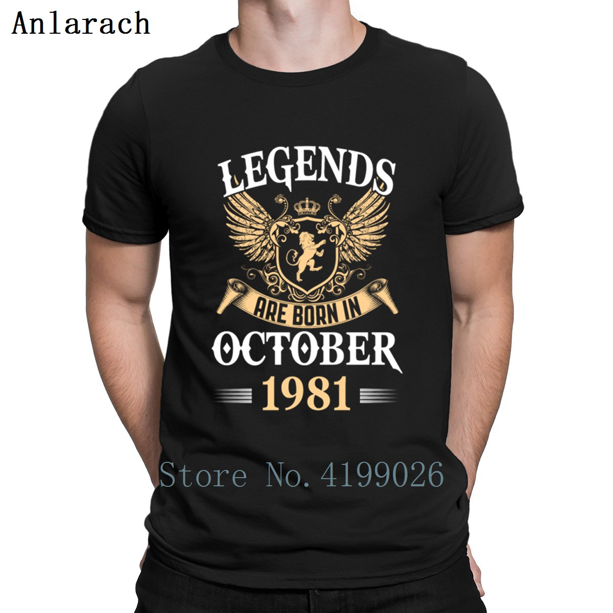 Legends Are Born In October 1981 T-Shirt Homme Hip Hop Gift S-3xl Tshirt For Men Summer Trend Character Cotton New Style