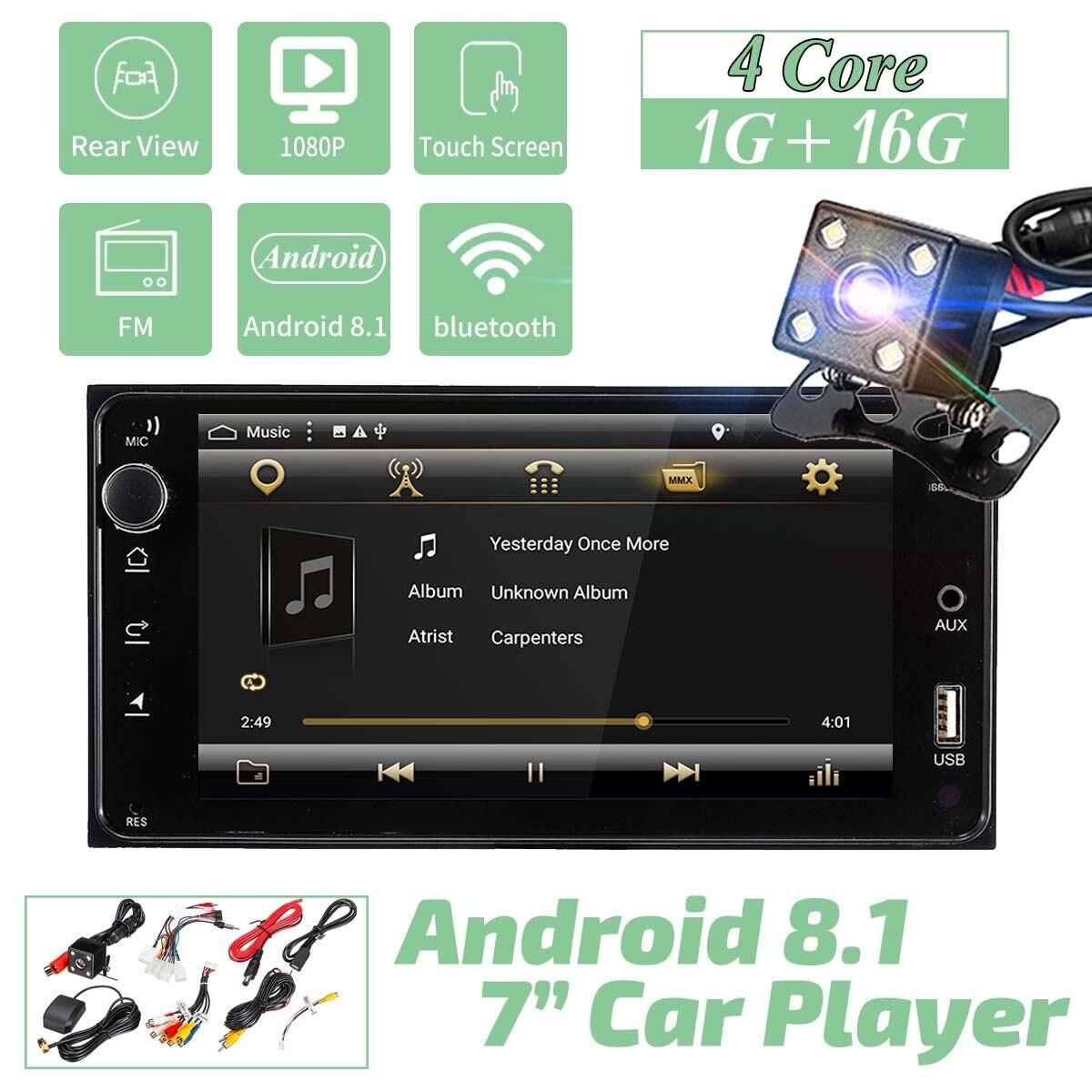 Android 8.1 autoradio 2 Din 7 ''écran capacitif Touchs 4 Core bluetooth Audio stéréo FM USB voiture MP5 lecteur pour Toyota