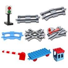 купить Vehicle track Sets Bricks Railway Big rail Building Blocks trailer track accessory DIY Child Toys Compatible with Duplo Car Gift дешево