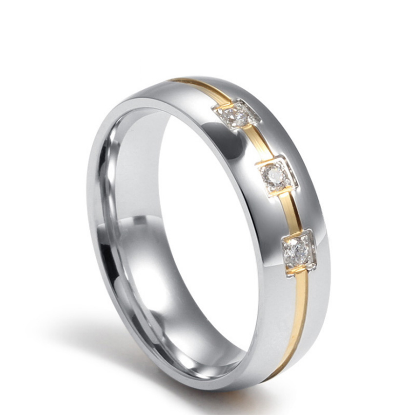 Luxry Wedding Ring AAA CZ Jewelry For Women Men with Austrian Crystal rings Fashion Titanium steel