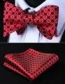 Свадьба BF606RS Красный Серый Цветочный Боути Мужчины Шелка Самостоятельная Галстук-Бабочку платок набор Классический Карманный Площадь