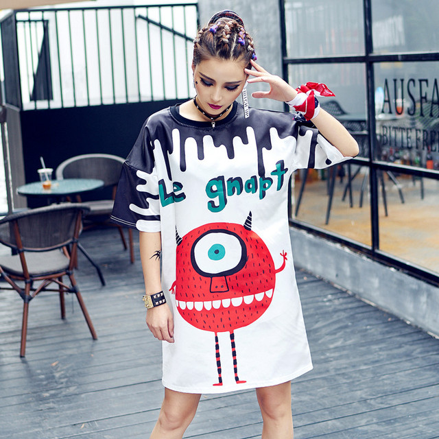 abcaa031529 2017 New Harajuku Long T shirt Women Tops Summer Style 2017 Vestidos Printed  HIP HOP Dance Clothes Short Sleeve Women Tops Tee