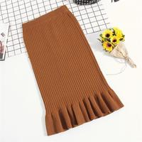 Lace High Waist Long Hip Knitted Wool Fishtail Skirt Women 7050
