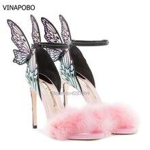 цена 2018 Newest Pink Feather Butterfly Wing Gladiator fur Sandals Women Open Toe Sexy Stiletto High Heel Shoes Woman Wedding Shoes онлайн в 2017 году