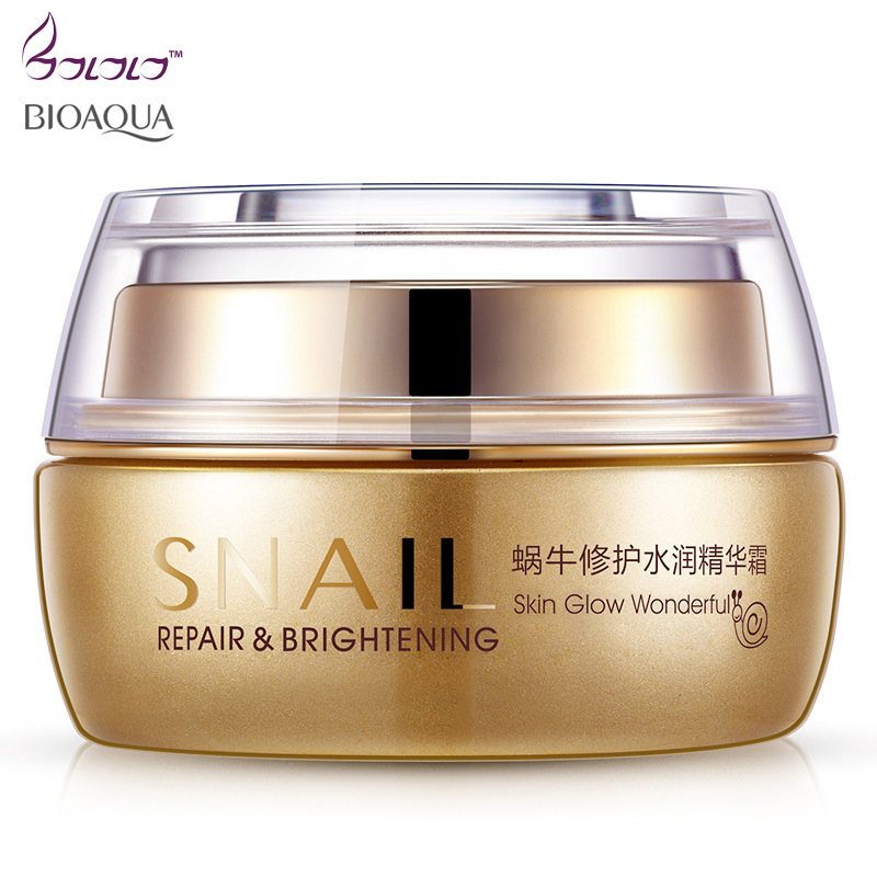 BIOAOUA brand snail gel repair face Cream Moisturizing shrink pores brighten skin tone Oil control instantly ageless skin care цена