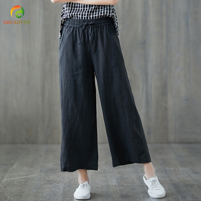 Wide     Leg     Pants   Capris Women 2019 Summer Loose High Elastic Waist Drawstring Linen Casual Straight   Pants   Female Trousers