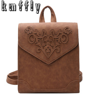 New Carved Flowers Backpacks For Teenage Girls Vintage Women Backpack PU School Backpacks Casual Large Capacity