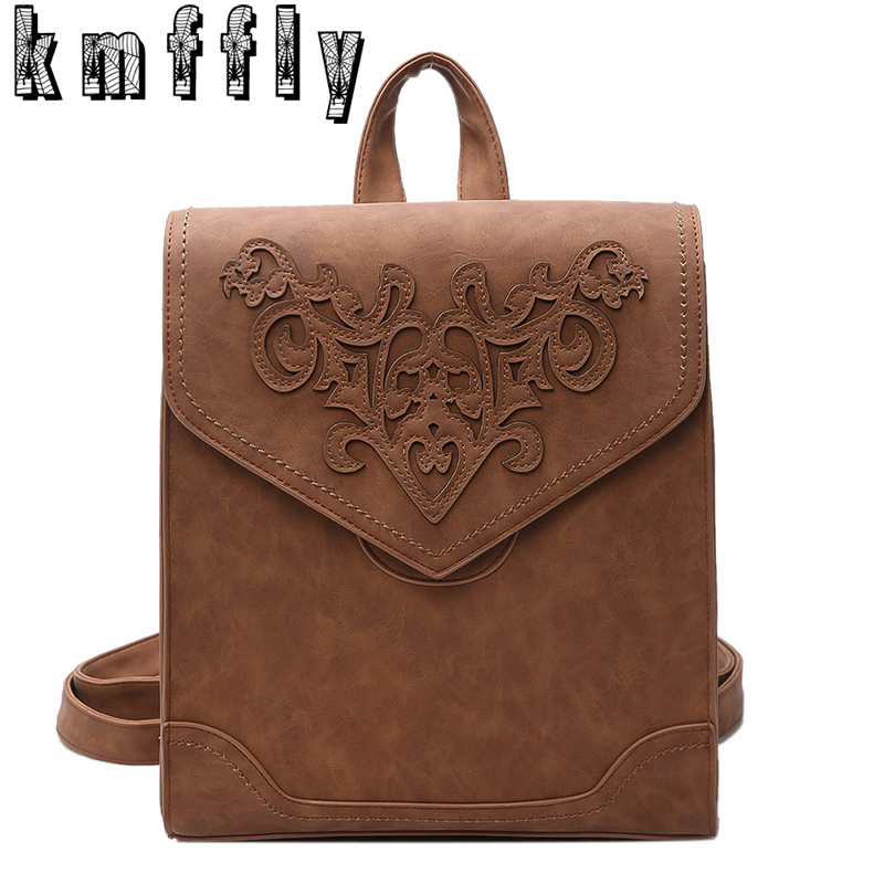 New Carved flowers Backpacks For Teenage Girls vintage women backpack PU school backpacks casual large capacity shoulder Bags jmd backpacks for teenage girls women leather with headphone jack backpack school bag casual large capacity vintage laptop bag