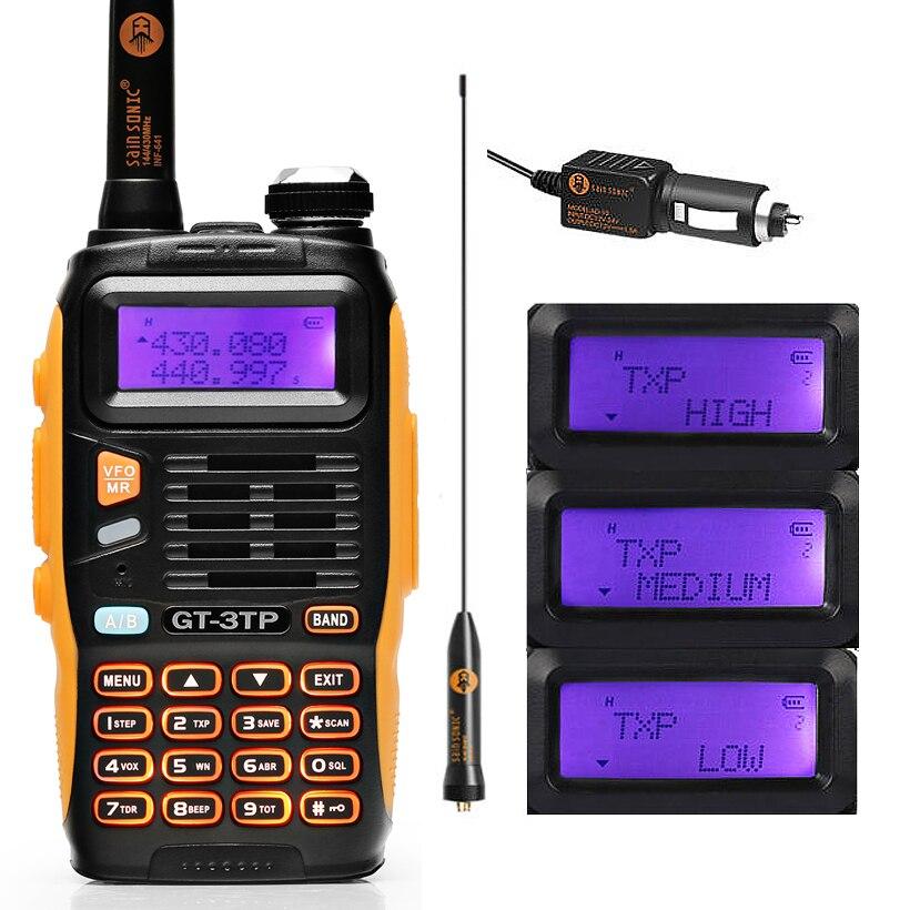 Baofeng GT-3TP MarkIII TP 1/4/8Watt haute puissance double bande 136-174/400-520MHz jambon Radio bidirectionnelle talkie-walkie avec chargeur de voiture