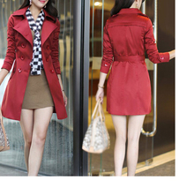 IMC Women Trench Coat Double Breasted Turndown Collar Long Sleeve Overcoat with Belt
