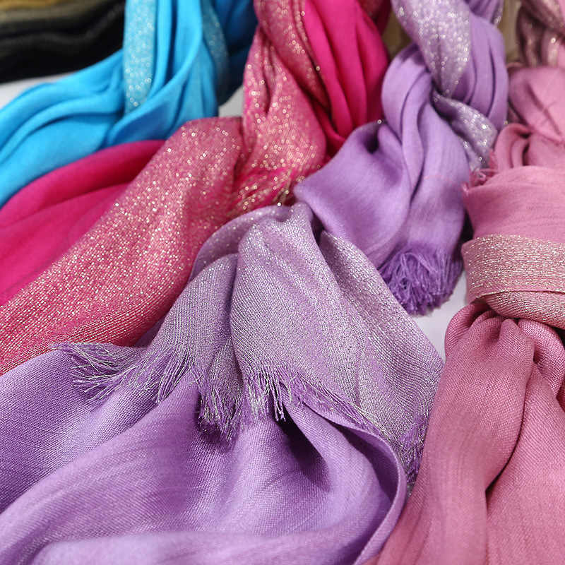 2020 Nuove Signore di Inverno del Cotone Tinta Unita Nappe e Frange Jersey Hijab Dello Scialle Della Sciarpa Delle Donne di Scintillio Shimmer Musulmano Fascia Dei Capelli Della Fascia Sciarpe