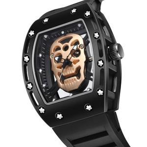 Image 2 - Fashion Tonneau Skeleton Watch Men Hollow Waterproof Skull Watch Male Quartz Silicone Wrist Watch Men Clock erkek kol saati