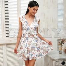 CUERLY Ruffle sleeveless summer dress Women backless strap floral print sexy 2019 Casual short bohemian vestidos