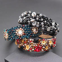 Hand stitched rhinestone geometric luxury water headband Baroque rhinestone personality hand stitched rice beads headband 860