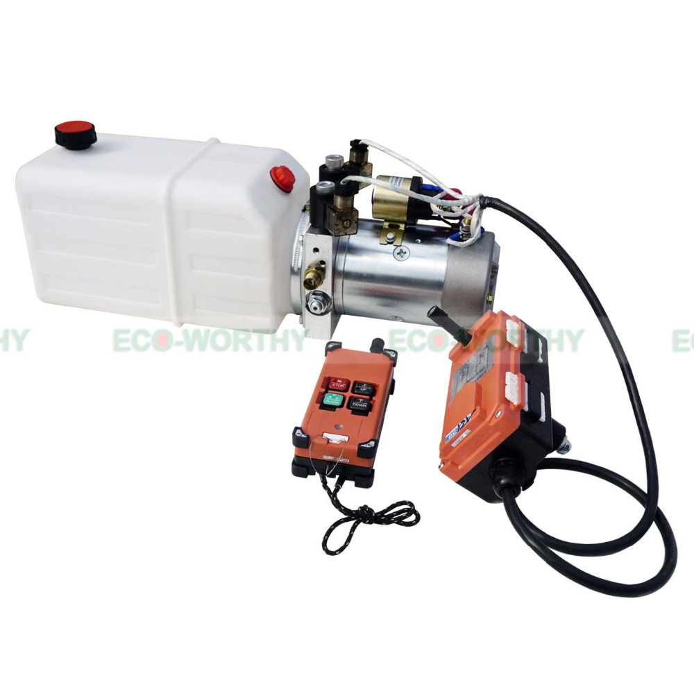ECO-SOURCES Wireless remote control High Quality Double Acting Hydraulic Pump 6L 12V Dump Trailer- 6 Quart 3200 PSI Max