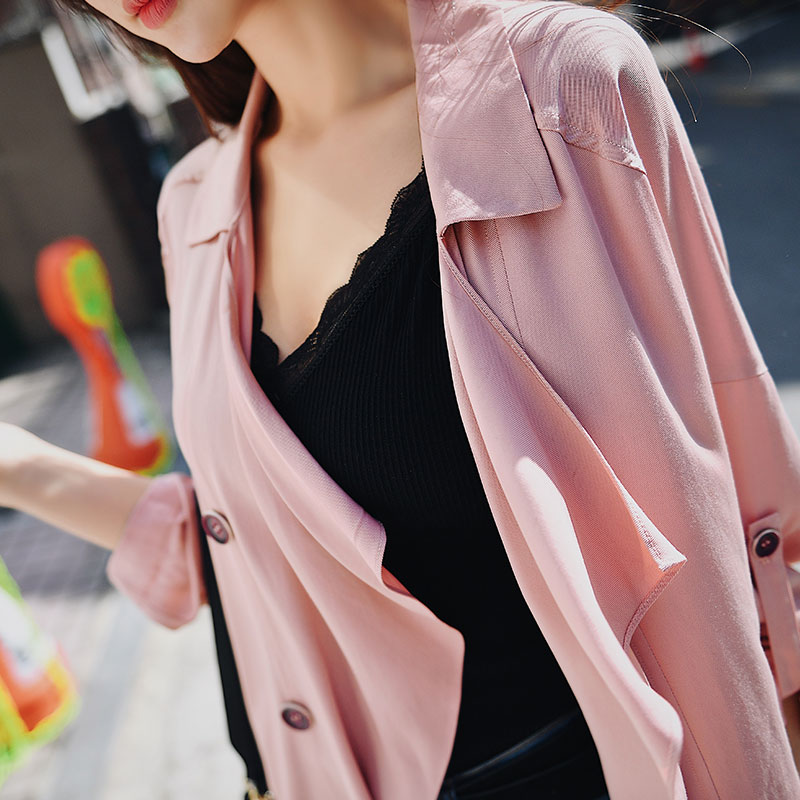 Dabuwawa Spring New Double-Breasted Casual Thin   Trench   Outwear Women Office Lady 2019 Long-Sleeve Elegant Windbreaker DN1ATC008