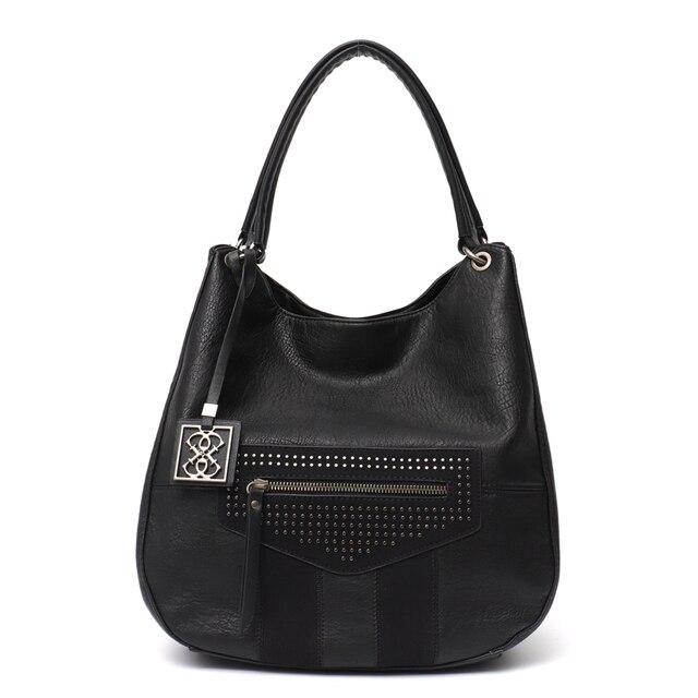 07f10b0d23 MONFERE 2018 Vintage Shoulder Handbag Vegan Leather Women Shoulder Hobo Bag  Messenger Bag Large Soft Zip Pocket Causal Tote Bag 223.7 Lei. Black