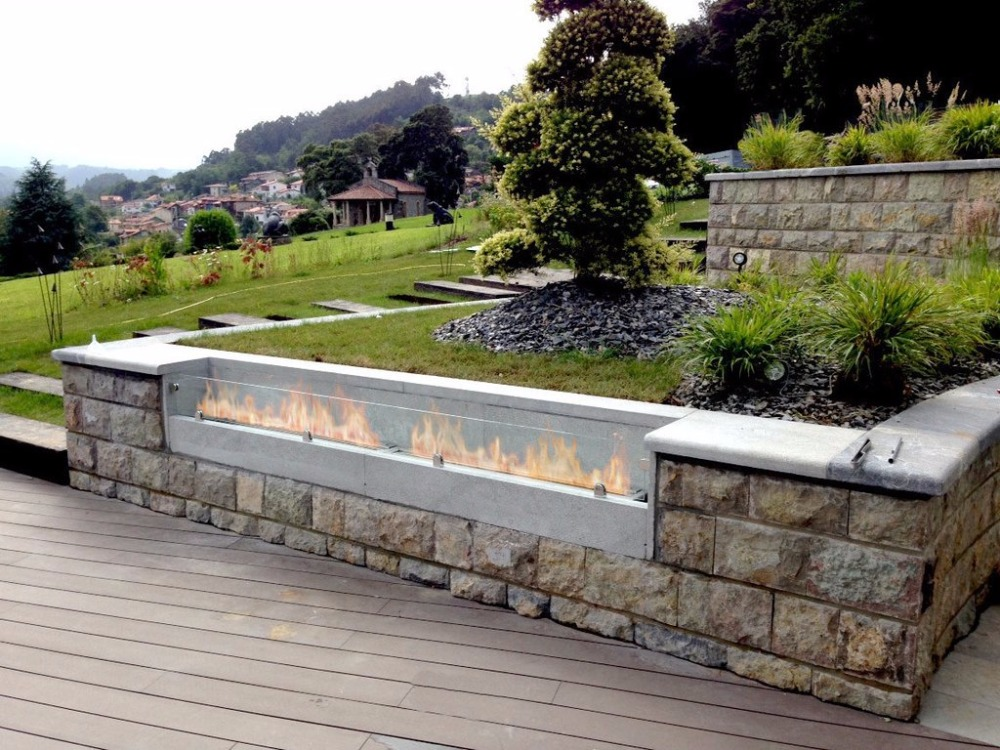 On Sale 62 Inch Stainless Steel/black Bio Ethanol Burner Outside Fireplace
