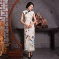 Chinese Traditional Long Dress Evening Dress Qipao S-2XL Plus Size Vintage Summer Short Sleeve Wedding Cheongsam For Women