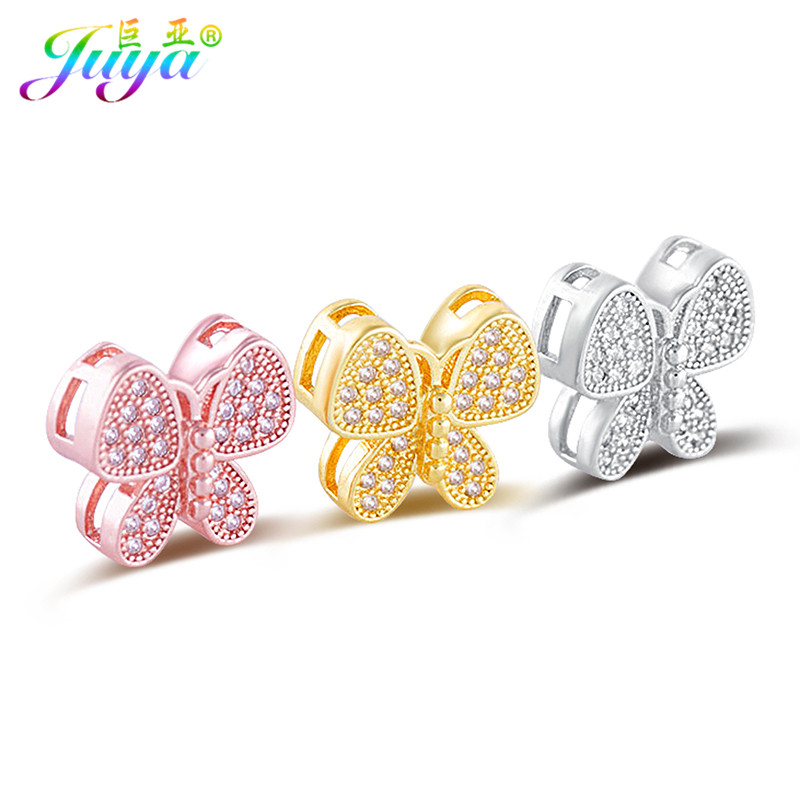 Beadwork Jewelry Components Micro Pave Zircon Butterfly Charm Beads For Perle Jewelry Earrings Bracelets Necklaces DIY Making