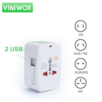2 USB Ports Multifunctional Electronic Adapter Plug USA United Kingdom Australia European International Travel Socket Converter