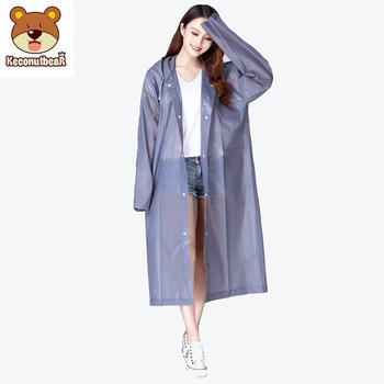 Keconutbear Fashion EVA damski płaszcz przeciwdeszczowy zagęszczony wodoodporny płaszcz przeciwdeszczowy kobiety przezroczysty Tour wodoodporna odzież przeciwdeszczowa garnitur tanie i dobre opinie Płaszcze NYLON Uniwersalny WOMEN Dorosłych Adults raincoat Single-osoby przeciwdeszczowa