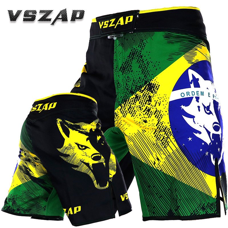 VSZAP Brazil Flag MMA Shorts Bodybuilding Sweatpants Breeches Sanda Fitness Muay Thai Wolf Summer Casual Elastic Beach Clothing