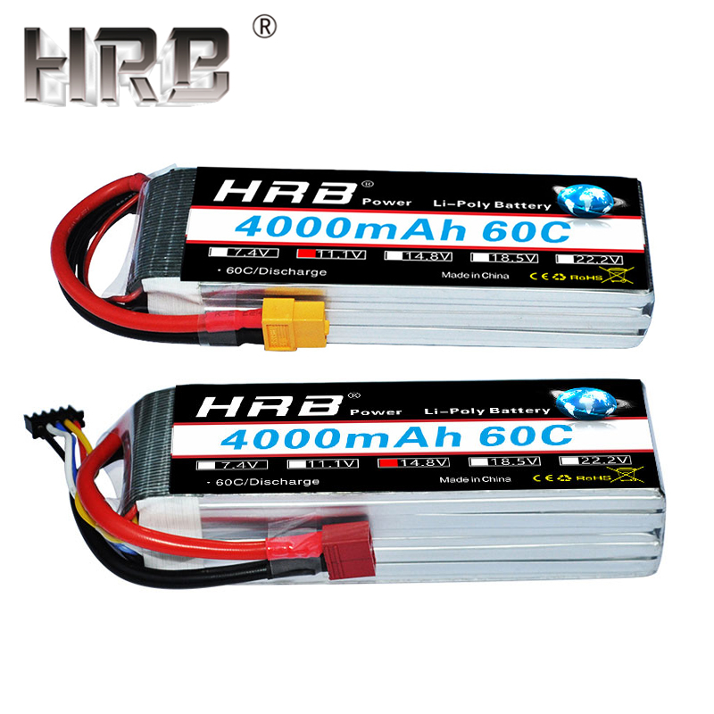 US $12 8 29% OFF HRB 3S 4S 4000mAh Lipo Battery 14 8V 7 4V 11 1V Deans XT60  T 5S 6S 2S 22 2V 18 5V 3 7 Quadcopter Airplane RC Parts Truck Car 60C-in