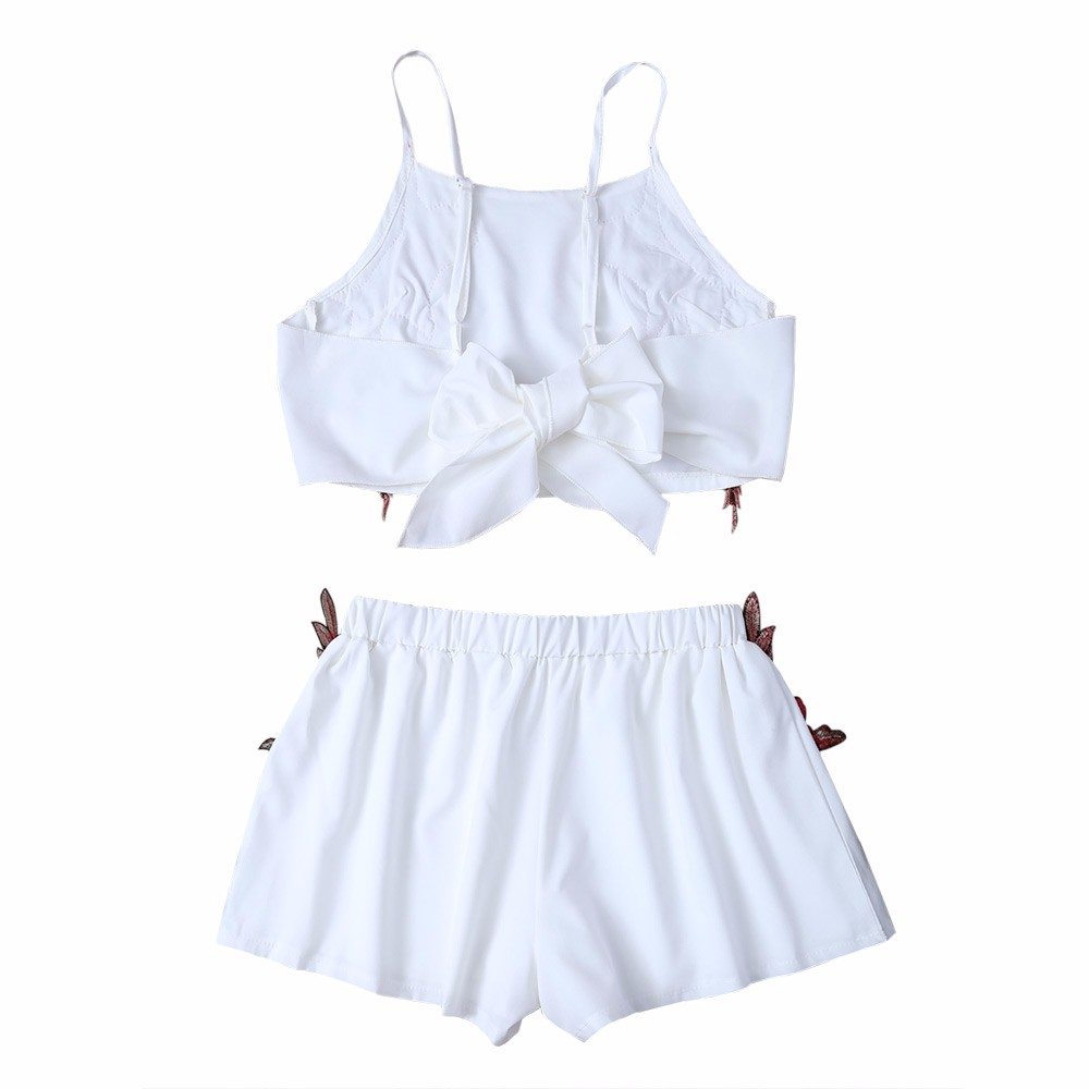 AZULINA Summer Casual Two piece Floral Embroidery White Twinset Crop Top Bowknot Hot Pants Shorts Women Set tank top 2017 Beach 9