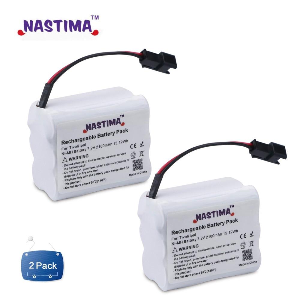 NASTIMA 2Pack 2100mAh 7.2V Battery pack for Tivoli Audio PAL, iPAL, PAL BT, PAL+, replaces MA-1, MA-2, MA-3 - double-pole jack(China)