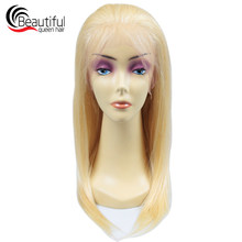 Beautiful Queen 10A Peruvian Human Hair 613# 360 Lace Frontal Wig Pre Plucked Glueless Wig 130 Density Swiss Lace Virgin Hair(China)