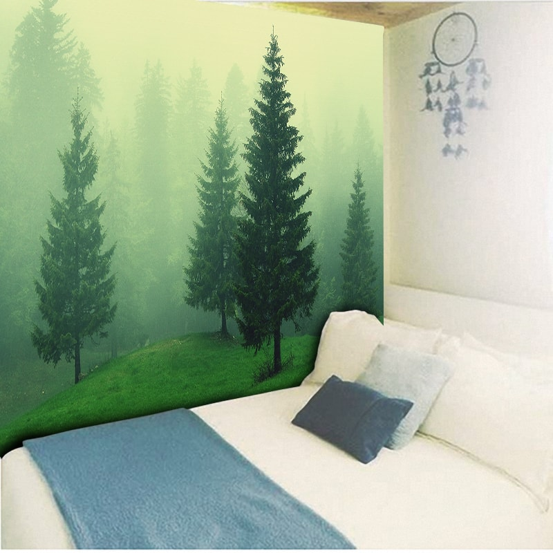 Forest Tapestry Psychedelic Wall Hanging Bohemian Wall Carpets Light Green Foggy Art Background Wall Cloth Tablecloth 230x150cm in Tapestry from Home Garden