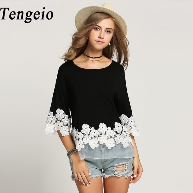 Tengeio Plus Size Odzież Damska 2018 3/4 Batwing Rękawem biały floral Koronkowa Bluzka Koszula Lato XXXL Chemisier Mujer Femme S15