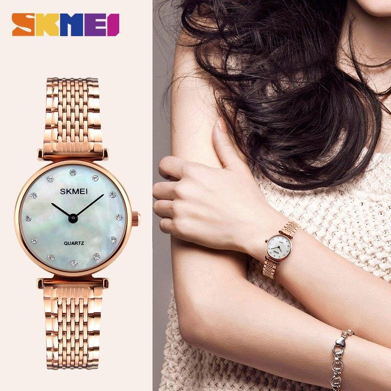 SKMEI עמיד במים באיכות גבוהה יוקרה כסף נשים שעונים גבירותיי מלאה נירוסטה חיוג קטן אישה שעונים מותג 1223