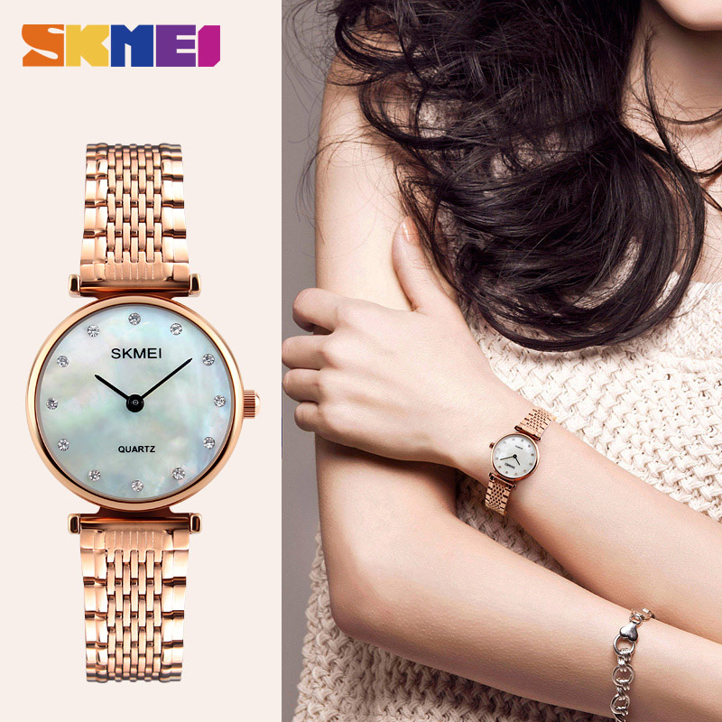 SKMEI Silver Women Watch Luxury High Quality Water Resistant Ladies Full Stainless Steel Small Dial Woman Watches Brand 1223 weide high quality watch men luxury brand big dial 3atm water resistant stainless steel back lcd wristwatches with alarm items