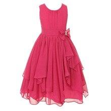 Fille col rond sans manches noeud robe de bal florale princesse robes de fête blanc rouge rose bleu robe quotidienne pour 3 5 6 8 10 12 14 ans