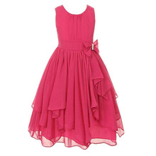 Girl O Neck Sleeveless Bow Floral Ball Gown Princess Party Dresses White Red Pink Blue Daily Dress For 3 5 6 8 10 12 14 Years